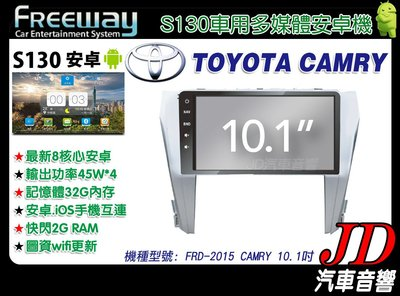 【JD 新北 桃園】FREEWAY TOYOTA CAMRY 2015 DVD/數位/導航 10.1吋 S130 安卓機