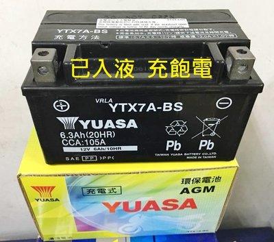 【中部電池-台中】新款已加水充電機車電瓶湯淺YUASA YTX7A-BS=GTX7A-BS 7號YTX7A山葉光陽台鈴風光125三陽NTX7A 台中市