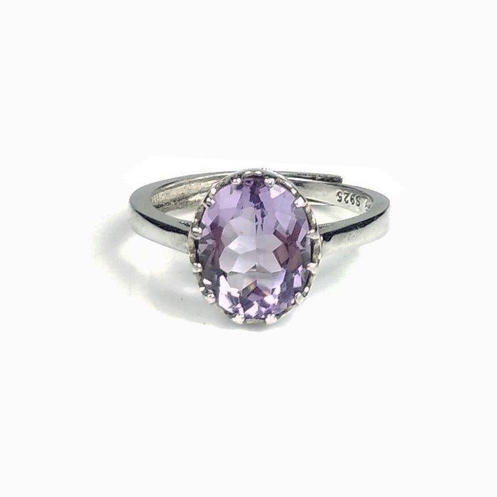 《博古珍藏》925純銀鑲紫水晶戒指.內徑17mm.戒圍可自行調整.飾品配件.節慶禮品禮物.附包裝盒.底價回饋