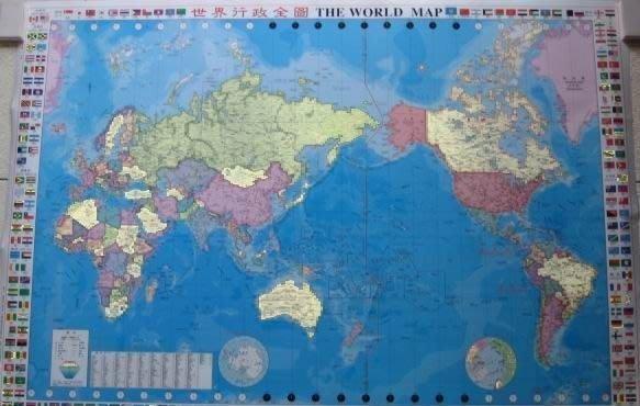 ((1世界地圖))中英文---110x156 cm-國產地圖-單面膠膜.可用白板筆寫-The World Map(一大張)-