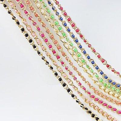 腰鏈皮帶 素色 珍珠 金屬 拼接 編織  裝飾 細款 鍊條 腰帶【EU1266】