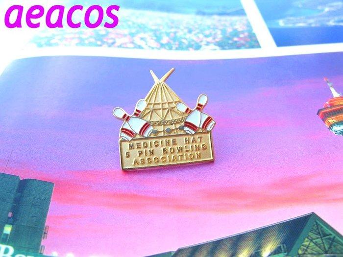 AEACOS@古董 古著 vintage retro MODs AT 保齡球 金色 紀念 別針胸針