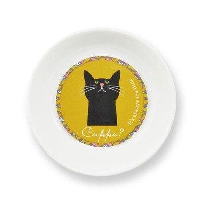 Cuppa?貓咪系列 黑貓芥末色 花卉小皿