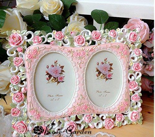 粉紅玫瑰精品屋~現代歐式田園浮雕蕾絲玫瑰相架情侶相框~現貨