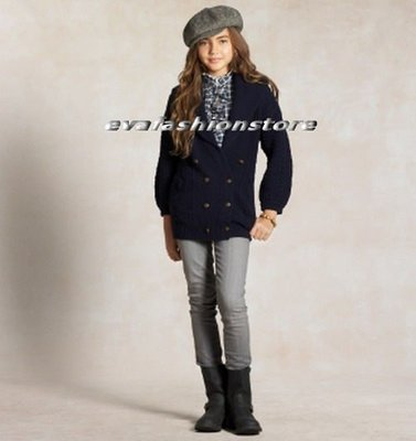【Polo Ralph Lauren】大女童美麗雄獅金釦特殊領口100%羊毛針織外套