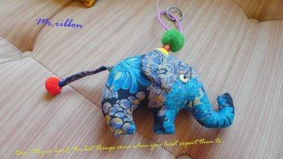 Mr.ribbon 蝴蝶結先生 曼谷空運 禮物  鑰匙圈  吊飾  大象  手作藍花舞蝶款
