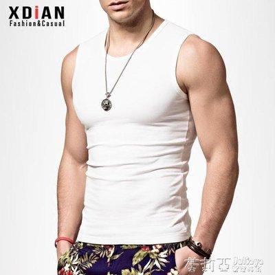 哆啦本鋪 無袖T恤男潮牌運動健身修身型緊身男士寬肩砍袖背心純棉坎肩 D655