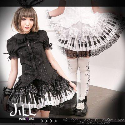 Oo吉兒oO 可愛氣質典雅鋼琴鍵盤點點多層次蕾絲澎裙GLP 黑【JGFA106B】