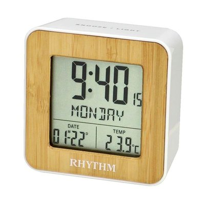 RHYTHM CLOCK 麗聲仿木紋面方型液晶日期星期貪睡雙鬧鈴溫度冷光鬧鐘 型號:LCT085NR03【神梭鐘錶】 台北市