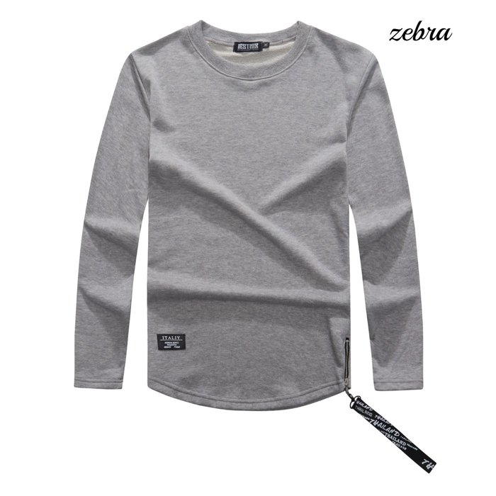 ZEBRA-【TJ9227】美式 素面 下擺圓弧 大學T 側拉鍊 皮標 造型 絨布款休閒長T M/XL特價380元