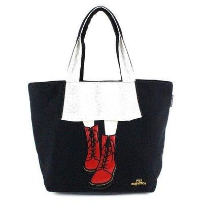 ◎Life Sense◎【Mis Zapatos】日本人氣裙靴手提肩背包 側背袋 美腿包 大鞋包 帆布包