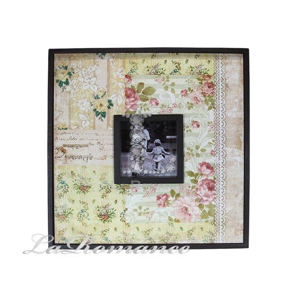 【芮洛蔓 La Romance】玫瑰蕾絲緞帶木製相框畫飾 - B
