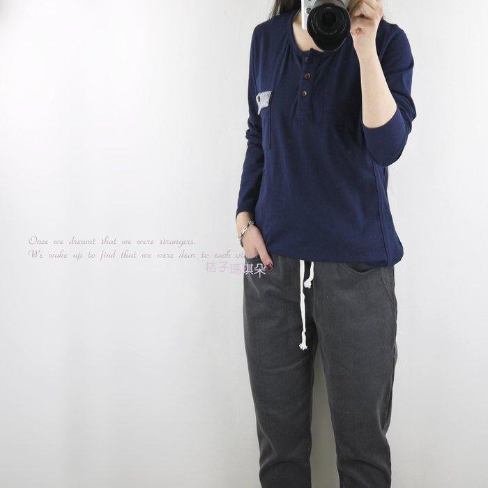 正韓 韓國連線 胸前配色小口袋彈性棉T 兩側直羅紋 ~桔子瑪琪朵