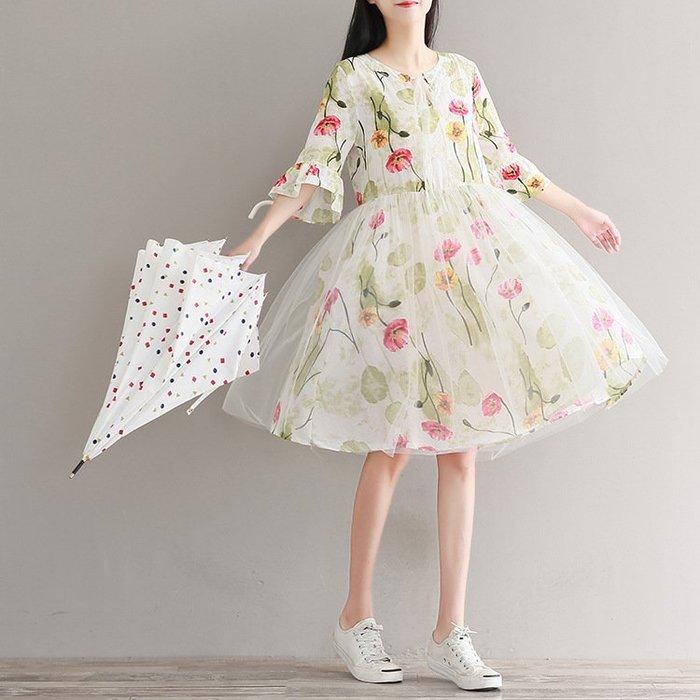 碎花 網紗 拼接 洋裝 中大尺碼 連衣裙 ~ FF5265