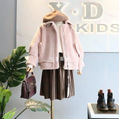 有家服飾品牌童裝2019冬新品女童韓范兒立領皮扣裝飾小羊羔絨寬版外套夾克