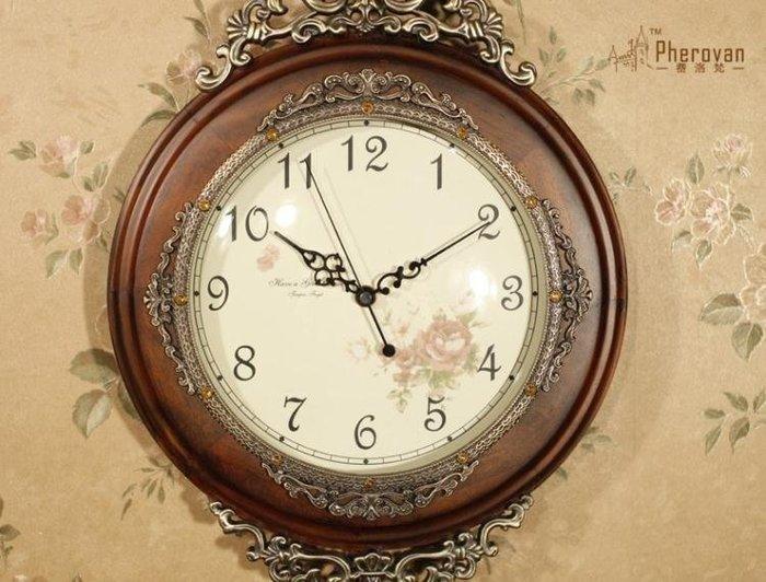 HAMI本鋪☞免運費-豪華歐式掛鐘客廳實木擺鐘創意藝術壁掛鐘錶田園靜音復古裝飾時鐘H58MI
