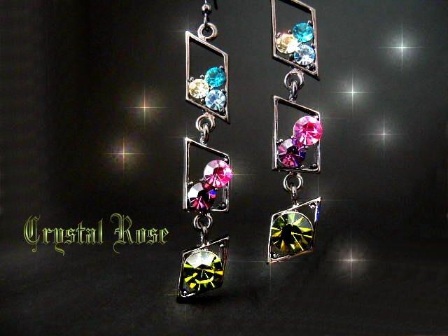 ※水晶玫瑰※ 水晶鑽 耳勾式耳環(DD392)