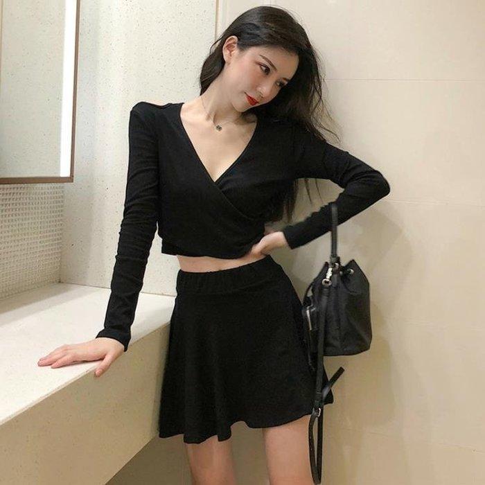 新款秋季女裝長袖性感V領短款露肩上衣 高腰翹臀顯瘦短裙兩件套潮
