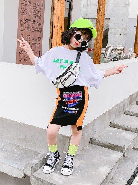 中大童 思家良品 童裝 女童裝 2019/5/24夏裝新品100-145CM 韓版女童 寬鬆字母 短袖T恤 白色