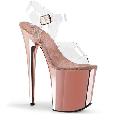 Shoes InStyle《八吋》美國品牌 PLEASER 原廠正品透明金屬鍍鉻極端厚底高跟涼鞋 有大尺碼 『玫瑰金色』