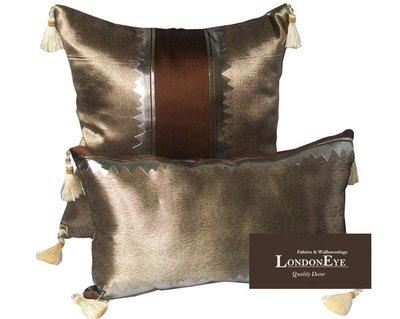 【 LondonEYE 】AUGUSTA 現代混搭X亮片設計X歐式絲墜 抱枕/腰枕 豪宅 樣品屋 訂製-咖啡