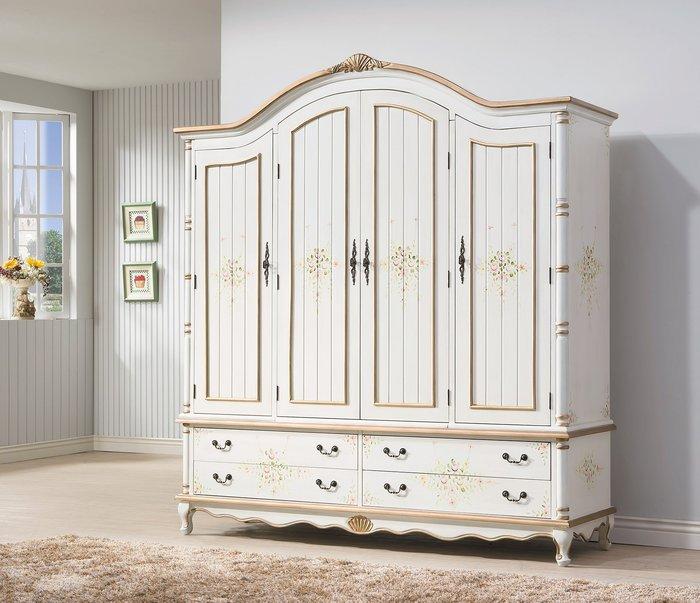 歐式新古典家具臥室四門衣櫃高端別墅儲物櫃整體4門大衣櫥(兩色可選)