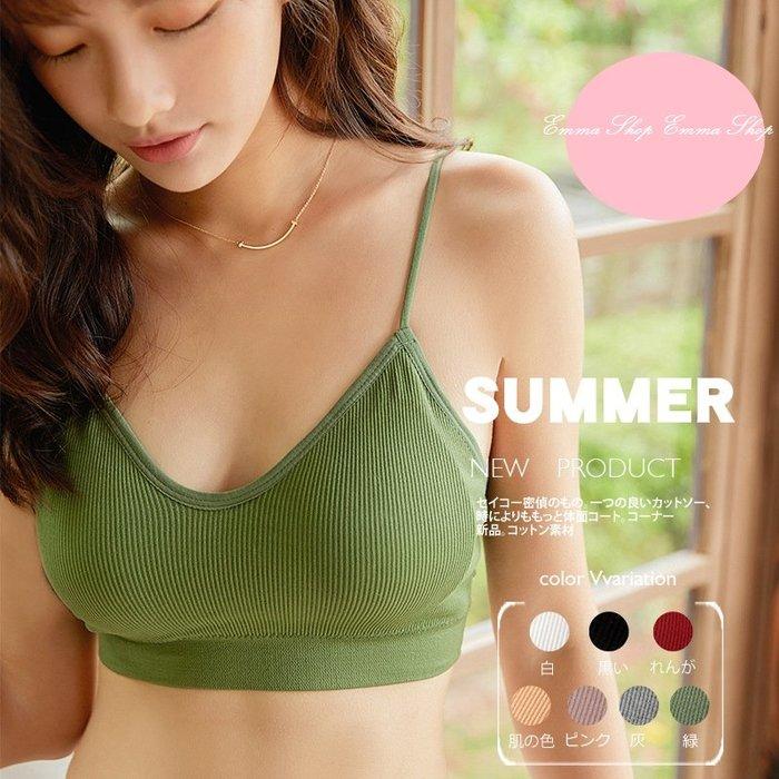 雙11活動價 EmmaShop艾購物-日韓美人簡約純色羅紋無鋼圈內衣/背心(含可拆式胸墊)/無痕美背