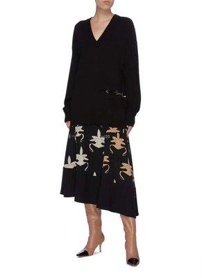 1T*B蒓元半身裙 20秋冬重磅真絲半身裙 秀場款 圖騰印花拼接不規則裙擺半裙 賣場2件9折3件8折特價無折