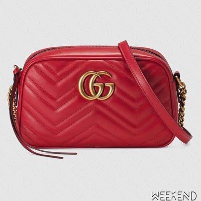 【WEEKEND】 GUCCI GG Marmont Small 小款 皮革 山形紋 肩背包 相機包 紅色 447632