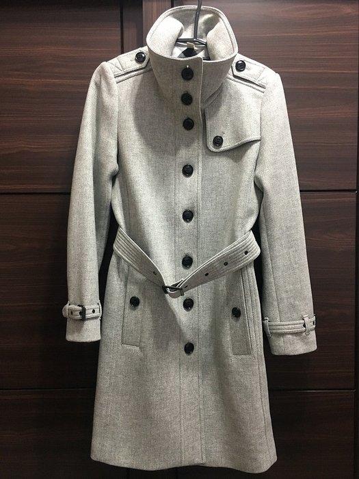 全新未穿 Burberry 灰色立領軍裝長版羊毛大衣 UK8 US6