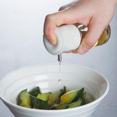 日本進口家用玻璃按壓式調料瓶廚房調味瓶透明防漏香油壺醋醬油瓶