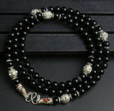 「還願佛牌」泰國 佛牌 鏈 串珠款 項鍊 單掛 經典 鏈子 黑瑪瑙 奧地利水晶 6 mm