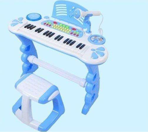 K1電子琴~兒童仿真鋼琴~藍色~附琴椅+麥克風+彩色練習樂譜+琴鍵貼紙◎童心玩具1館◎