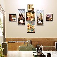 歐式名建築咖啡廳裝飾畫酒吧懷舊經典無框畫餐廳壁畫現代掛畫牆畫(7幅一組)