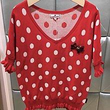 全新有牌Scottish House ~紅色點點V領上衣~M號