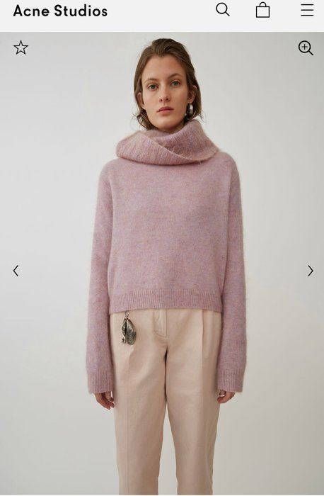 Acne studios 乾燥玫瑰粉色大翻領 高領毛衣 全新尺寸XXS 專櫃真品