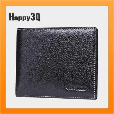 老闆商務男生皮夾錢包信用卡皮夾票夾短夾牛皮短皮夾相片照片-黑/棕【AAA2947】