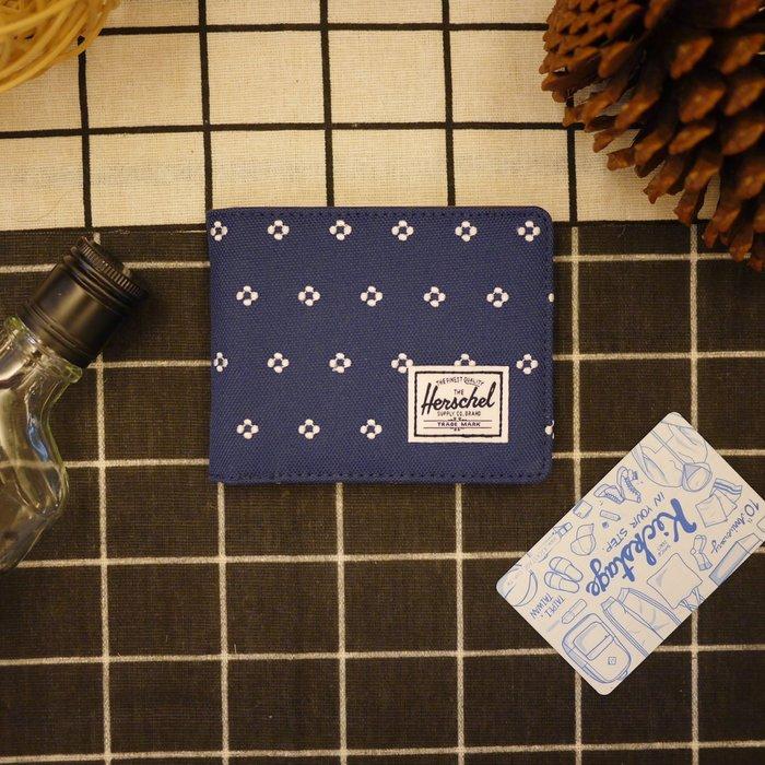 KS▸Herschel HANK WALLET 深藍 點點 刺繡 皮革 短夾 卡夾 信用卡【10049EM-01338】