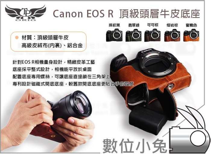 數位小兔【TP Canon EOS R 真皮相機底座 】皮革 開底式 TP底座 牛皮 手工真皮 開口底座 皮套