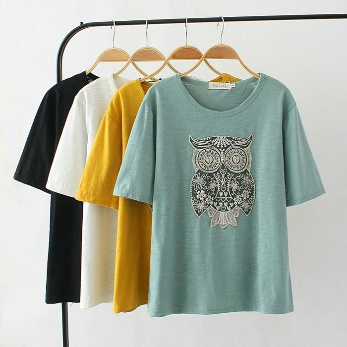 夏裝新款加肥加大碼胖MM韓版寬松貓頭鷹貼布竹節棉短袖T恤