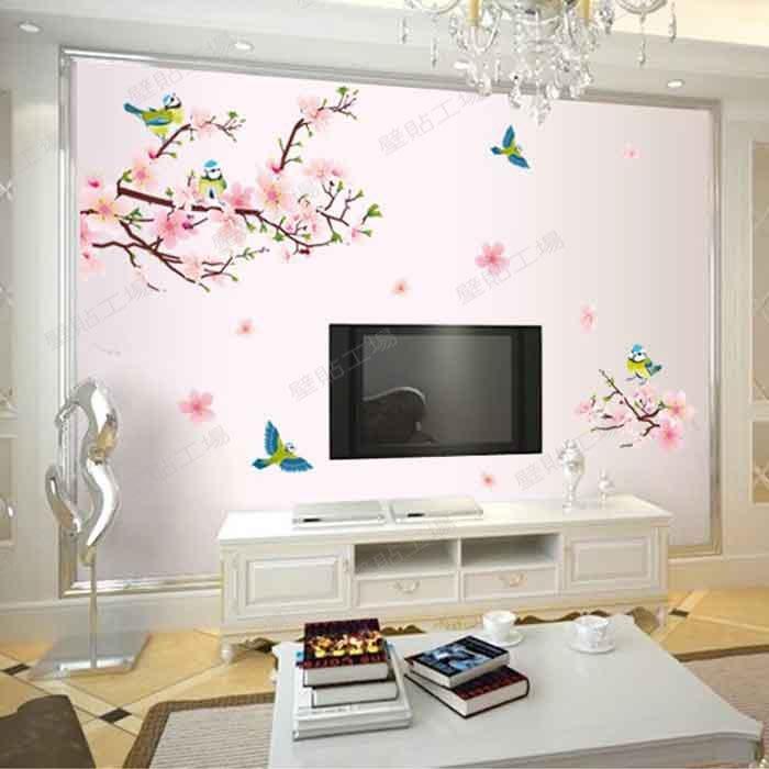 壁貼工場-三代特大尺寸壁貼 壁貼   鳥  梅花  室內佈置  AY9189
