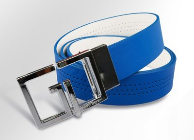藍鯨高爾夫 GP雙面扣皮帶(彩藍/白)#GLE40101