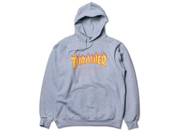 THRASHER FLAME HOOD-GREY【HopesTaiwan】