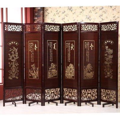 ZIHOPE 訂製 實木中式仿古屏風折疊可移動酒店茶樓隔斷客廳隔斷玄關雙面復古ZI812
