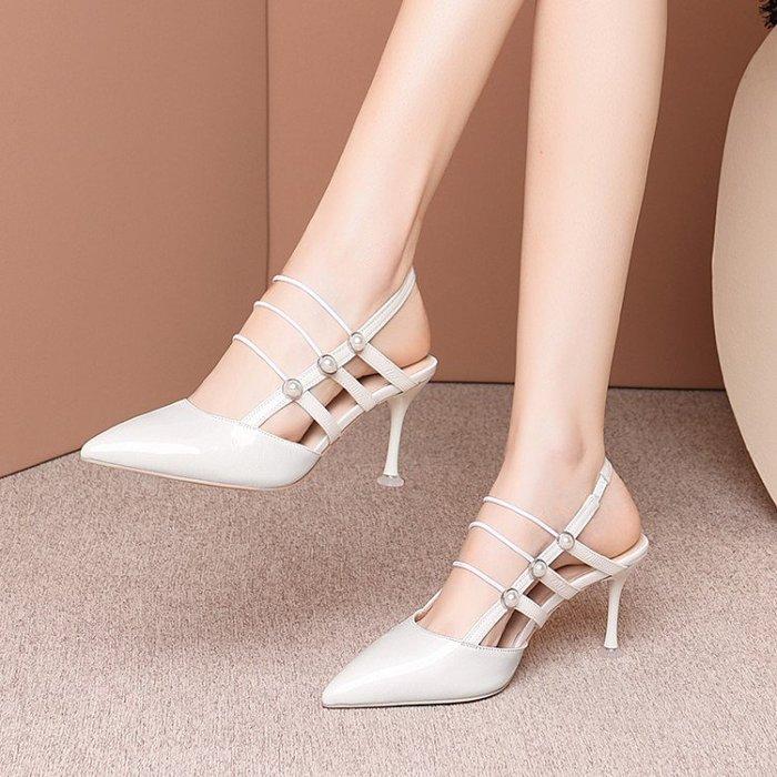 真皮 2020春夏新款時裝高跟包頭涼鞋女尖頭細跟漆皮淺口鬆緊帶後空單鞋 HKA 045