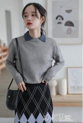毛衣女新款寬鬆假兩件很仙撞色翻領內搭針織衫打底襯衫領上衣 沸点奇迹