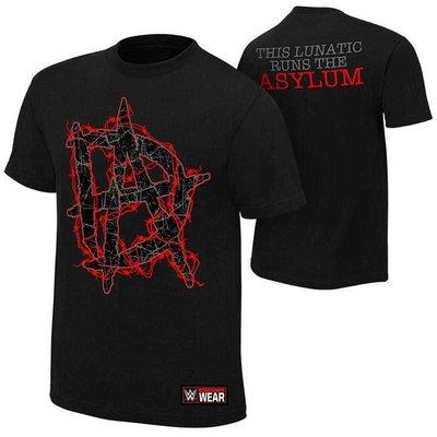 WWE 摔角衣服 Dean Ambrose This Lunatic Runs the Asylum DA電光LOGO黑色短袖T恤
