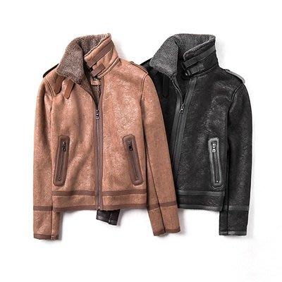 皮衣 外套 皮夾克-麂皮絨皮毛一體翻領男外套2色73ua29[獨家進口][米蘭精品]