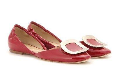 【搬家清衣櫃】ROGER VIVIER Chips patent leather ballerinas 紅色37.5