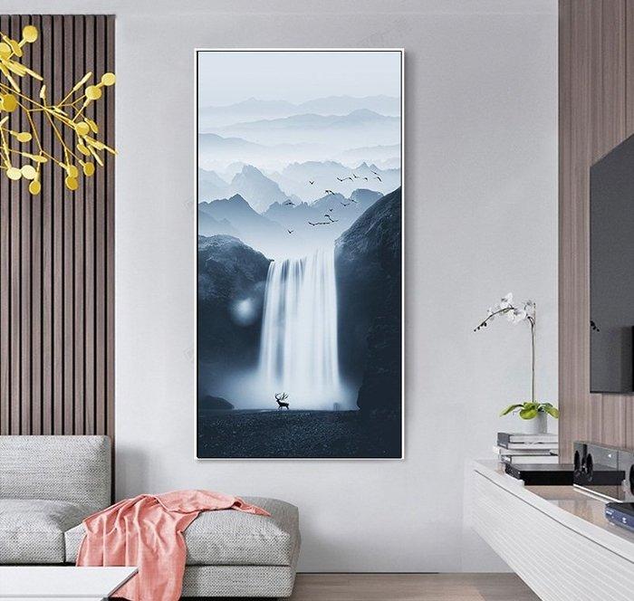 新中式走廊掛畫過道玄關裝飾畫畫芯豎款水墨畫簡約山水麋鹿掛畫